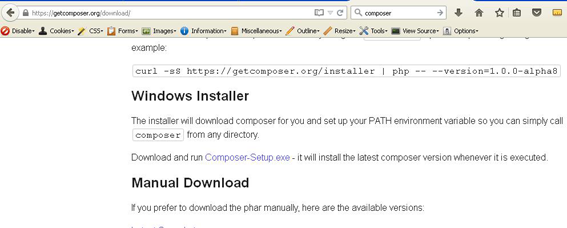 """Installing """"Composer"""" – Dependency Manager for PHP in Windows"""